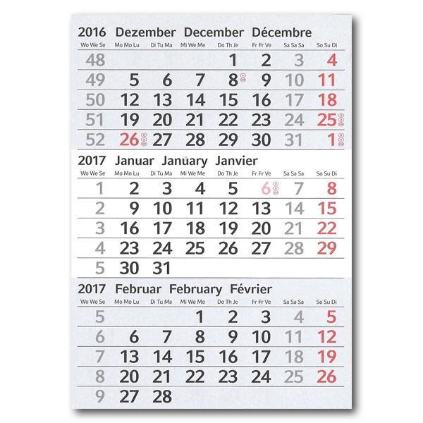 3-Monats-Tischplaner: Kalendarium 2018