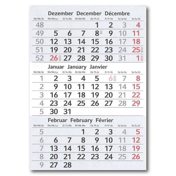 3-Monats-Tischplaner: Kalendarium 2019